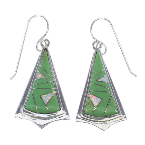 Southwest Genuine Sterling Silver Turquoise And Opal Hook Dangle Earrings VX56165