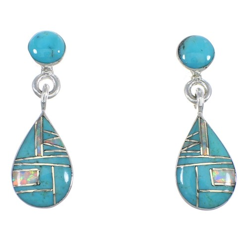 Sterling Silver Turquoise And Opal Tear Drop Post Dangle Earrings RX55864