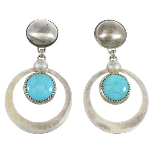 Old Pawn Vintage Style Sterling Silver Turquoise Post Dangle Earrings RX55922