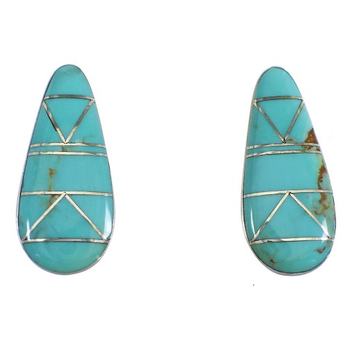 Southwest Turquoise And Sterling Silver Post Earrings VX55949