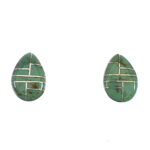 Turquoise Inlay And Genuine Sterling Silver Tear Drop Post Earrings VX55987