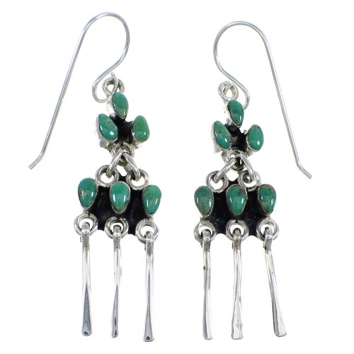 Southwestern Turquoise Silver Hook Dangle Earrings Jewelry RX56402