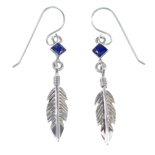 Sterling Silver Lapis Feather Hook Dangle Earrings RX56414