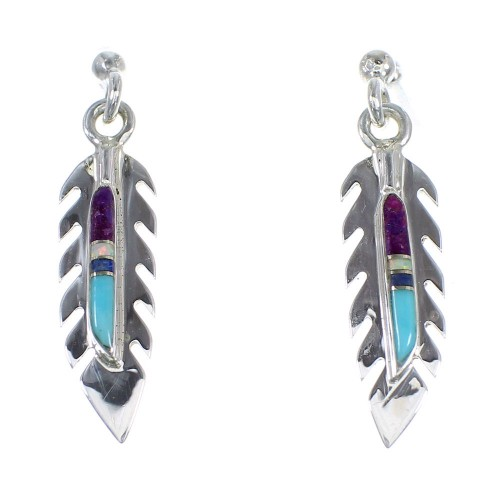 Genuine Sterling Silver Multicolor Feather Post Dangle Earrings RX56325