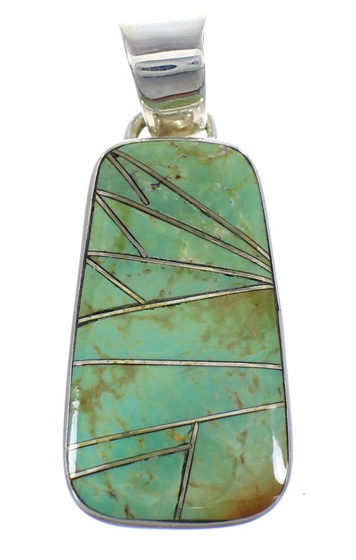 Turquoise Inlay And Sterling Silver Southwest Pendant WX58515