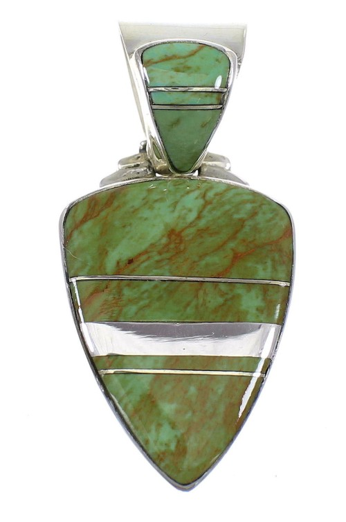 Turquoise Inlay Southwest Sterling Silver Pendant WX58537