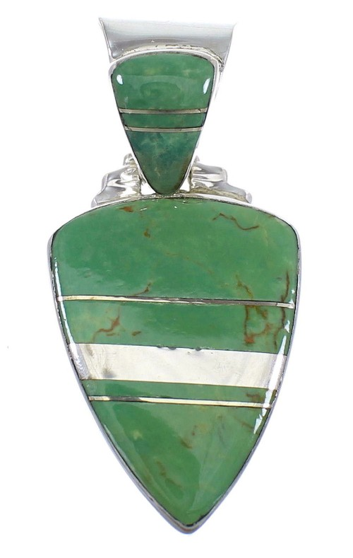 Turquoise Inlay Sterling Silver Southwestern Pendant WX58540