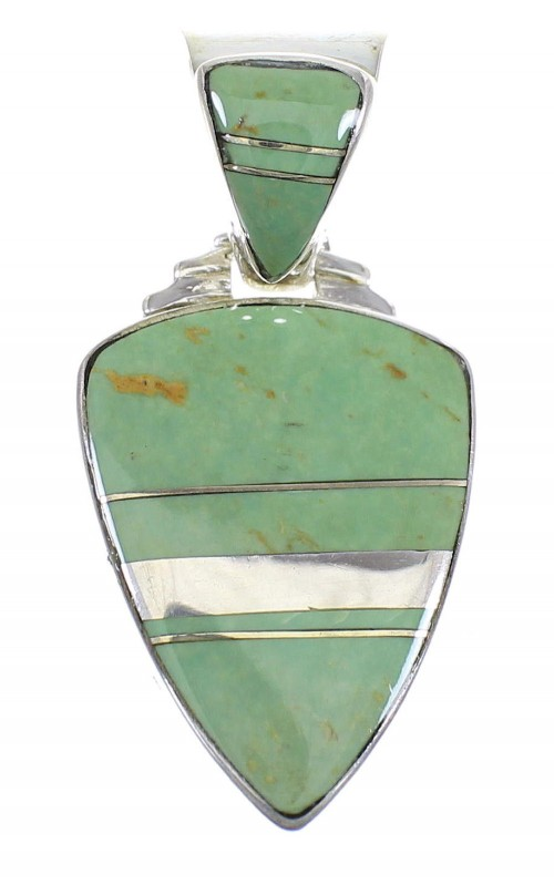 Turquoise Inlay Sterling Silver Southwest Pendant WX58542