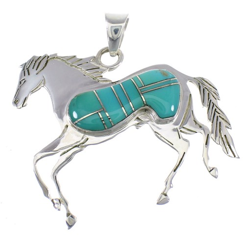 Southwest Turquoise And Sterling Silver Horse Pendant WX58632