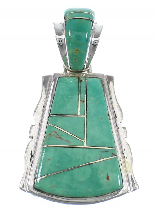 Southwest Turquoise Inlay Silver Slide Pendant WX58660