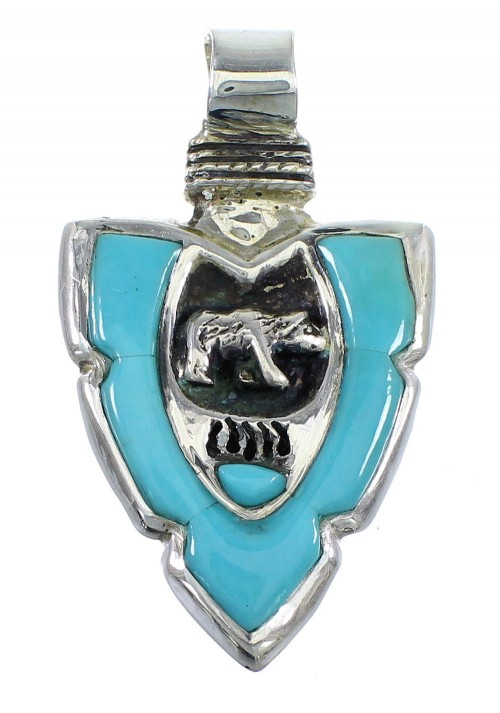 Turquoise Genuine Sterling Silver Arrowhead Bear Pendant EX56428