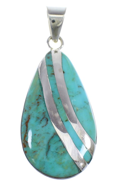 Genuine Sterling Silver Turquoise Inlay Slide Pendant EX56437