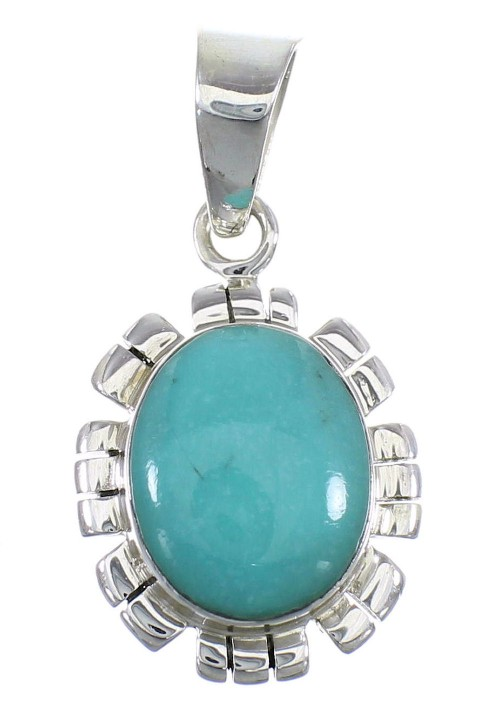 Southwestern Turquoise Sterling Silver Pendant EX56450
