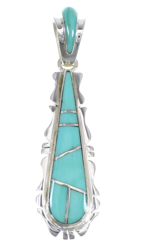 Turquoise Inlay Southwestern Sterling Silver Pendant EX56459