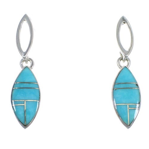 Turquoise Inlay Sterling Silver Post Dangle Earrings RX56506