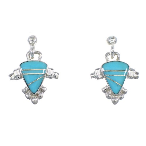 Turquoise And Sterling Silver Post Dangle Earrings RX56510