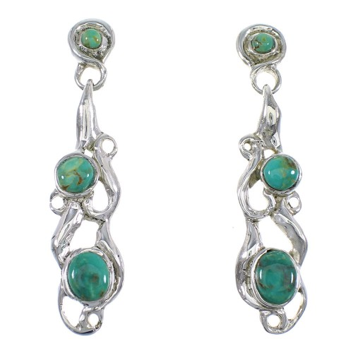 Turquoise Genuine Sterling Silver Post Dangle Earrings RX56924