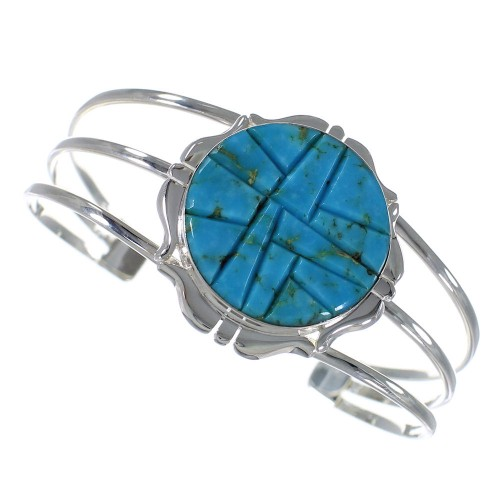 Authentic Sterling Silver Turquoise Cuff Bracelet VX59341