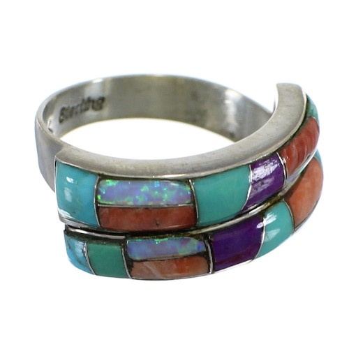 Multicolor WhiteRock Sunrise Sterling Silver Ring Size 6-3/4 FX93665