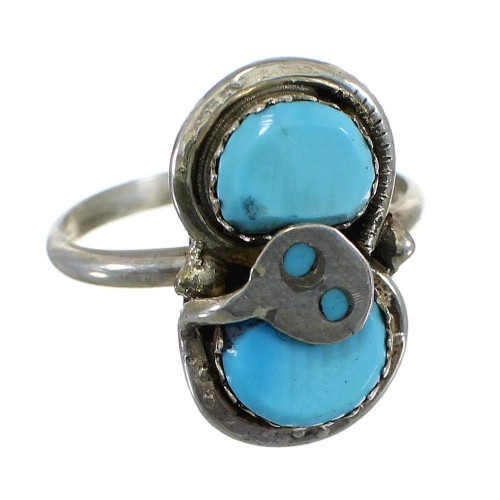 Zuni Indian Turquoise Sterling Silver Snake Ring Size 7-1/2 EX56862