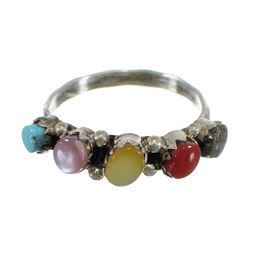 Sterling Silver Native American Multicolor Ring Size 5-1/2 EX56883