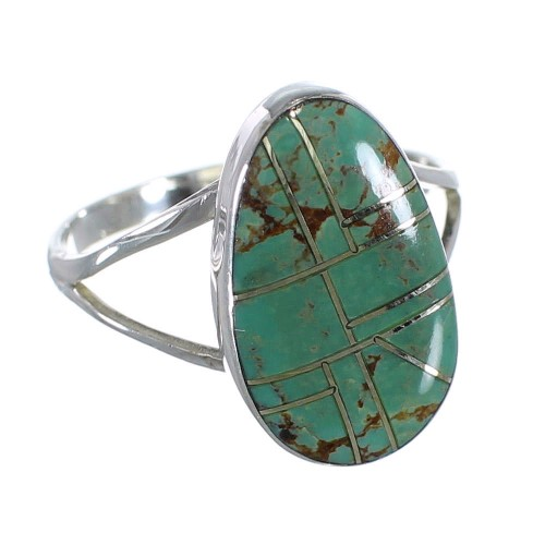 Sterling Silver And Turquoise Inlay Southwestern Ring Size 8-3/4 WX58732