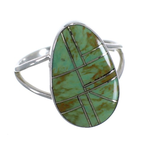 Turquoise Inlay And Sterling Silver Southwest Ring Size 5-1/4 WX58744