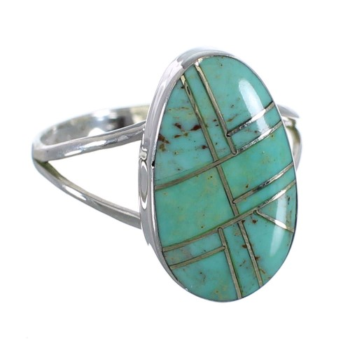 Silver And Turquoise Inlay Southwest Ring Size 8-3/4 WX58750