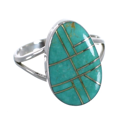 Genuine Sterling Silver Southwestern Turquoise Ring Size 5-3/4 WX58817