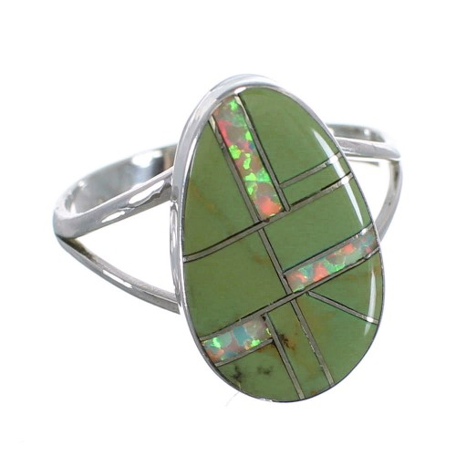 Opal And Turquoise Inlay Genuine Sterling Silver Ring Size 8-3/4 RX57732