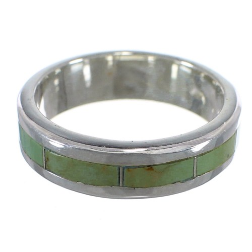 Genuine Sterling Silver And Turquoise Inlay Ring Size 8 VX58390