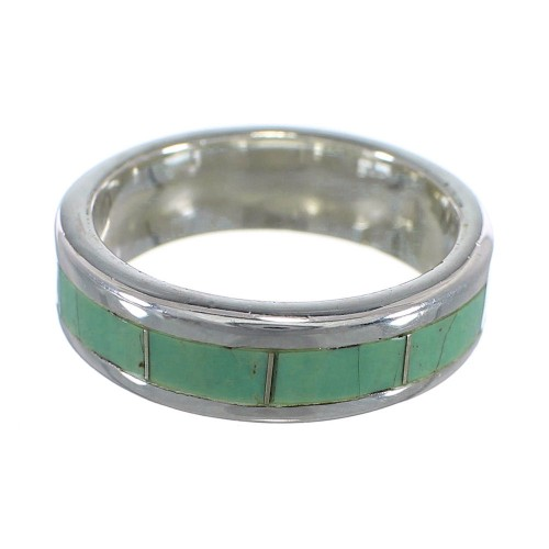 Southwest Authentic Sterling Silver And Turquoise Inlay Ring Size 5-1/2 VX58401