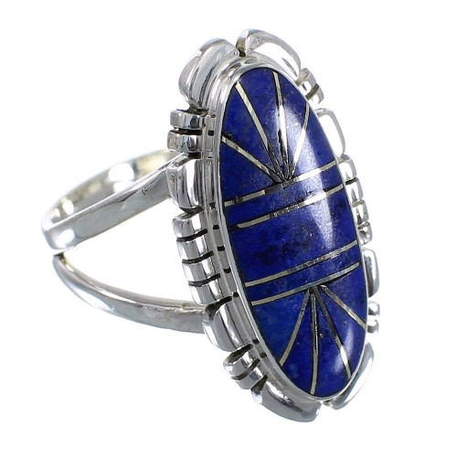 Southwest Lapis Inlay Authentic Sterling Silver Ring Size 7-1/4 RX58008
