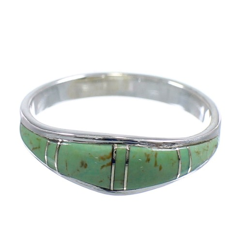Turquoise And Genuine Sterling Silver Southwestern Jewelry Ring Size 7-3/4 WX58885