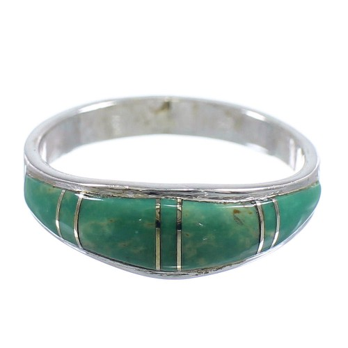 Turquoise And Genuine Sterling Silver Southwest Jewelry Ring Size 5 WX58889