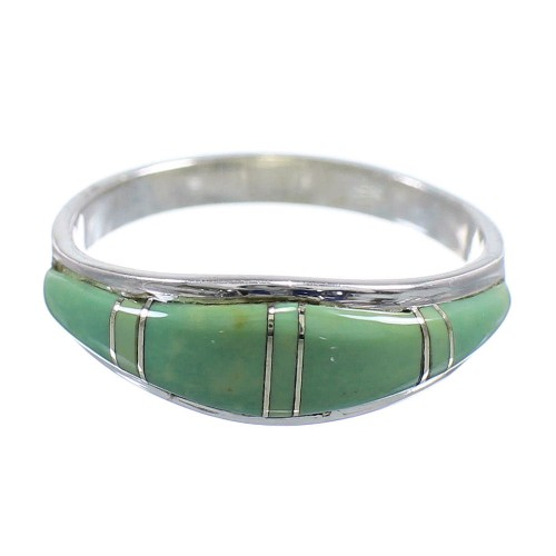 Authentic Sterling Silver Turquoise Inlay Southwestern Jewelry Ring Size 5-3/4 WX58927