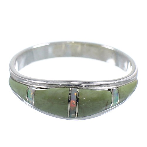 Authentic Sterling Silver Turquoise And Opal Ring Size 8-3/4 RX57320