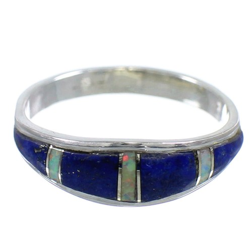 Authentic Sterling Silver Lapis Opal Inlay Ring Size 7-3/4 RX59206