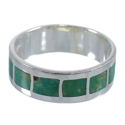 Southwest Sterling Silver And Turquoise Inlay Jewelry Ring Size 7-3/4 VX58431
