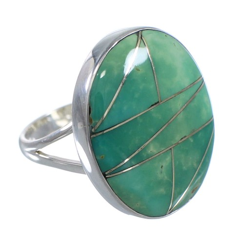 Genuine Sterling Silver And Turquoise Inlay Ring Size 5-1/4 VX57251