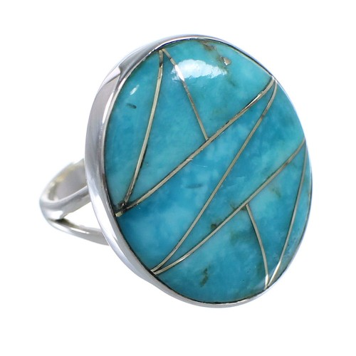Genuine Sterling Silver And Turquoise Inlay Southwest Ring Size 4-1/2 WX59093
