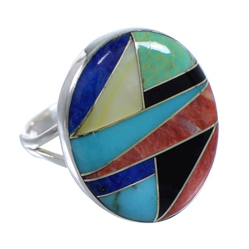 Multicolor Genuine Sterling Silver Southwestern Ring Size 7-1/4 VX58860