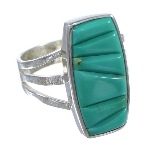 Southwest Turquoise And Genuine Sterling Silver Ring Size 8-1/2 VX57301