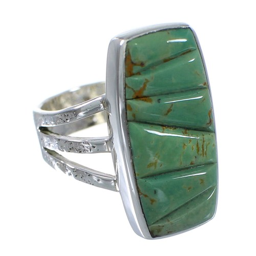 Southwest Turquoise Inlay And Sterling Silver Jewelry Ring Size 5-1/4 VX57356