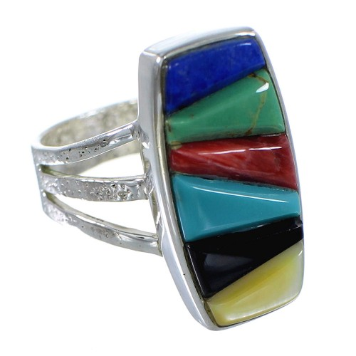 Multicolor Inlay And Authentic Sterling Silver Southwestern Jewelry Ring Size 8-1/4 VX58892