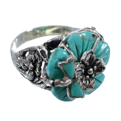 Genuine Sterling Silver Turquoise Flower And Dragonfly Ring Size 7 RX82666