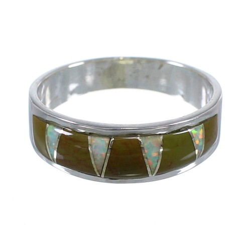 Authentic Sterling Silver Turquoise Opal Inlay Ring Size 6-1/2 RX82965
