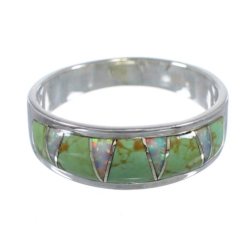 Turquoise Opal Inlay Sterling Silver Ring Size 5-3/4 RX82997