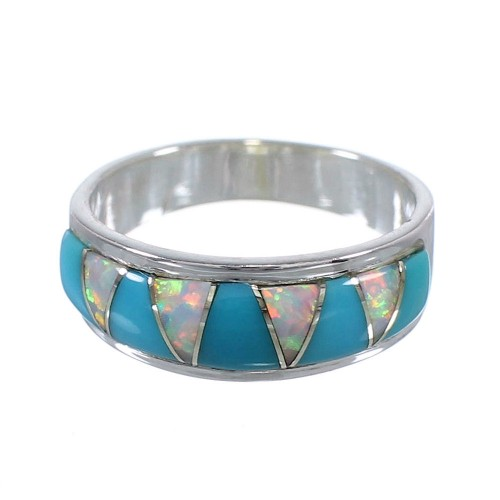 Turquoise Opal Inlay Authentic Sterling Silver Ring Size 6-1/2 RX82834