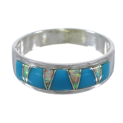 Turquoise Opal Inlay Sterling Silver Jewelry Ring Size 4-3/4 RX82928